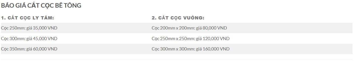 Giá cắt cọc bê tông